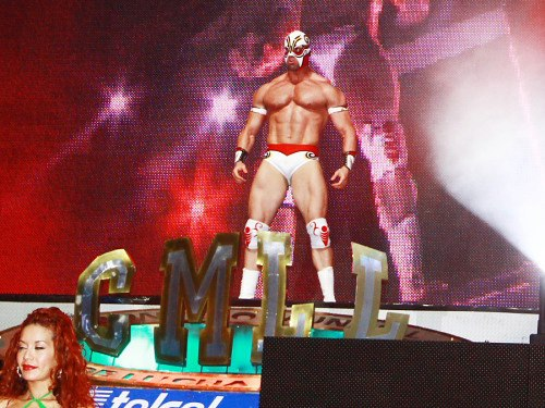 Thunder Bird standing at the top of the CMLL entrance way